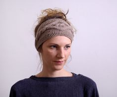 Knitted Headband Ear Warmer Cable knit- Button Closure Ear Warmer or Hair Band. Smoky brown, taupe. $22.00, via Etsy.