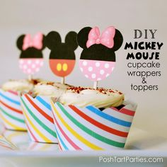 Free Printable Mickey & Minnie Mouse Cupcake Wrappers and Toppers