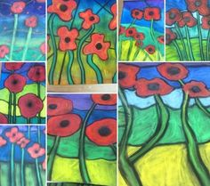 These remind me of stained glass by Louis Comfort Tiffany Grade 8 Poppy Art in honour of Remembrance Day Remembrance Day Activities, Remembrance Day Art, Ww1 Art, 4th Grade Art, Grade 2, For Elise, Anzac Day, 7 Arts, School Art Projects