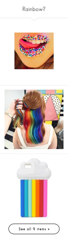 """""""Rainbow🌈"""" by skh-siera18 ❤ liked on Polyvore featuring makeup, lips, pictures, backgrounds, beauty, hair, accessories, tech accessories, phone cases and phone"""