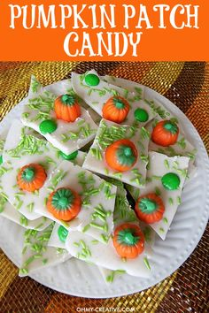 This Pumpkin Patch Candy Bark with Pumpkin Spice flavors is delicious. Perfect for any fall gathering, Halloween party or a fun recipe for the kids to make!