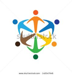 Concept vector graphic- colorful socially connected people icons ( signs ). The illustration represents concepts like workers, employee diversity, community friendship & sharing, children playing, etc - stock vector