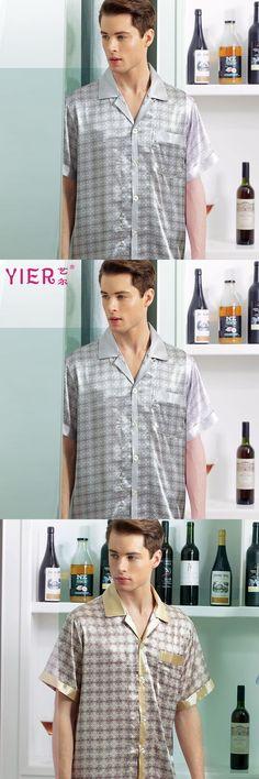 1705 YIER Brand Fashion Men Pajamas 100% Mulberry Silk Sleepwear Men's Short Sleeve Set Men Silk Pajama Sets Free Shipping