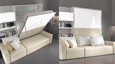 letti_matrim_scomparsa2 Multifunctional Furniture, Smart Furniture, Home Decor Furniture, Bedroom Furniture, Home Furnishings, Beds For Small Rooms, Bedroom Decor For Small Rooms, Diy Bedroom Decor, Murphy Bed Couch