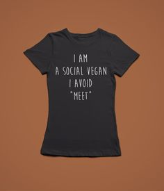 2edc805c57f5 I Am A Social Vegan Funny Womans Veggie Hippy Tumblr Hardcore Fitted T Shirt  New S