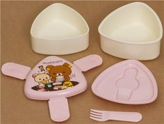 white-pink Rilakkuma bear Bento Box Lunch Box chocolate 3