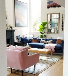 49 Charming Pink Living Room Design Ideas For Your Daughter - There are so many living room design ideas out there that it can be really hard to decide on the right direction to go. Home décor magazines offer ple. Blue And Pink Living Room, Blush Living Room, Blue Couch Living Room, Formal Living Rooms, Living Room Chairs, Home Living Room, Living Room Designs, Living Room Decor, Kitchen Living