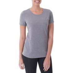Danskin Now Women's Active Short Sleeve Crew Neck T-Shirt, Size: XL, Gray