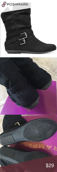 ✨RAMPAGE boots RAMPAGE black boots.  All man-made materials.  Suede-like upper.  Silver-tone buckles on sides.  Only worn a few times - upper part of boots in very good condition, most obvious signs of wear on bottoms (see photos).  Original box is included. Rampage Shoes Ankle Boots & Booties