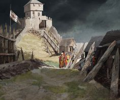Kelvin Wilson - Newcastle Norman Motte and Bailey Fort Medieval Fortress, Medieval Castle, Medieval World, Medieval Fantasy, Medieval Times, Renaissance Architecture, Historical Architecture, Motte And Bailey Castle, 11th Century