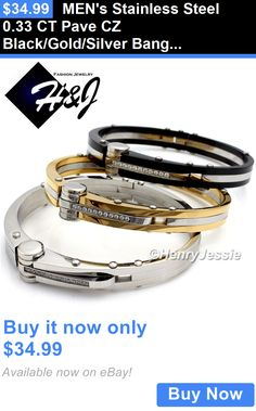Men Jewelry: Mens Stainless Steel 0.33 Ct Pave Cz Black/Gold/Silver Bangle/Handcuff Bracelet BUY IT NOW ONLY: $34.99