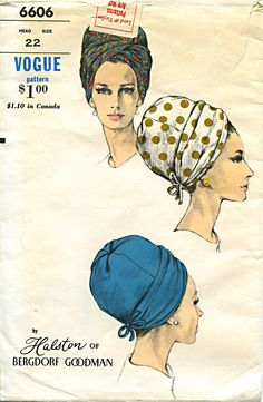 a9f503558c1 Vintage Vogue Pattern Halston Hat  6606 c. Early 1960 s