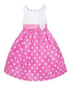 Look what I found on #zulily! Pink & White Polka Dot Dress - Toddler & Girls #zulilyfinds