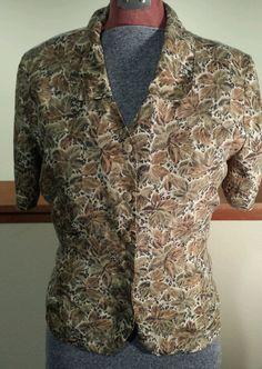 Womens Anna and Frank 100% Silk Button Up Blouse Leaf and Cheetah Print Sz Med #AnnaandFrank #Blouse #Silk #ButtonFront #ShortSleeve #Cheetah