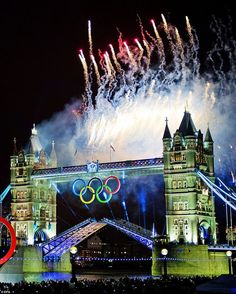Fireworks light the sky over Tower Bridge in London during the Opening Ceremony of the London 2012 Olympic Games