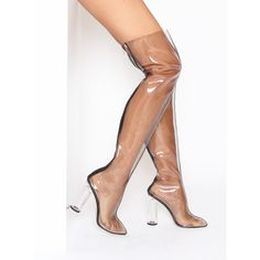 Naya Clear Black Perspex Thigh High Boots : Simmi Shoes