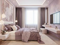 Soft, feminine and serene that's what these bedrooms are. Soft colors with pops of color in decor, add a blanket and a couple of pillows to make it all come together and you have your own feminine bedroom. Luxury Bedroom Design, Master Bedroom Design, Master Bedrooms, Purple Master Bedroom, Bedroom Designs, Master Suite, Blush And Gold Bedroom, Mauve Bedroom, Bedroom Small