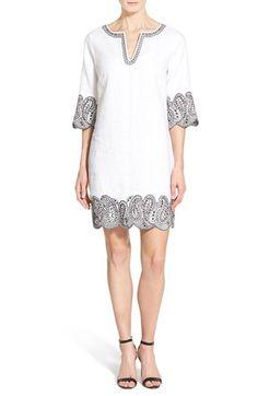 MICHAEL Michael Kors Embroidered Linen Split Neck Shift Dress