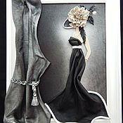 Картина из кожи Дама с зонтиком. Объемная картина из кожи – купить или заказать в интернет-магазине на Ярмарке Мастеров   Изысканна, красива, интересна.<br /> Загадочная…
