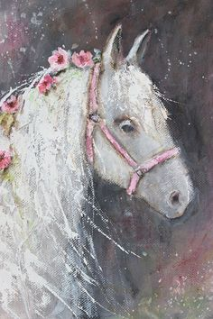 original acrylic floral horse pony  painting 8X10 k d by fadedwest, $45.00
