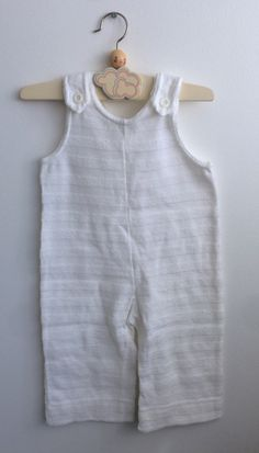 Scandinavian Retro Baby Romper in White Striped Terry Cloth 6-18 months, Nordic Vintage Baby Jumpsuit with buttons on the shoulder straps by ElleBelleVin on Etsy