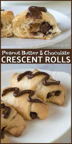These easy Peanut Butter and Chocolate Crescent Rolls have only 3 ingredients and take just minutes to prepare - so you and your family can enjoy a tasty crescent roll dessert in no time at all, perfect for dessert, breakfast, brunch or a snack! Cresent Roll Dessert Recipes, Pillsbury Crescent Roll Recipes, Crescent Rolls, Crescent Roll Deserts, Crescent Roll Appetizers, Crescent Dough, Easy Brunch Recipes, Dinner Recipes, Köstliche Desserts