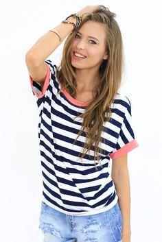Maritimes Shirt mit Streifen für ein lässiges Sommeroutfit / casual shirt in nautical style for summer party, striped fashion made by Shoko Shop via DaWanda.com
