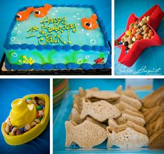 decor ideas for bubble guppies party. use sand toys as serving dishes