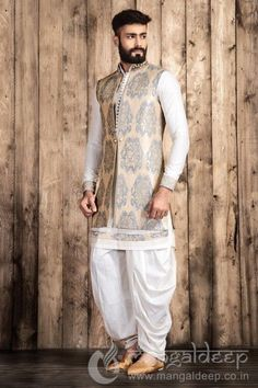 Buy Mangaldeep Off White Silk Indo Western Sherwani online in India at best price.p Awesome Cream coloured Silk fabric kameez designed with thread work and fancy button. Wedding Dresses Men Indian, Wedding Dress Men, Indian Dresses, Indian Outfits, Western Dresses, Indian Weddings, Wedding Couples, Wedding Ideas, Mens Indian Wear