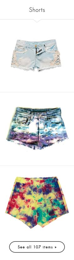 """Shorts"" by emmzizleez888 ❤ liked on Polyvore featuring shorts, bottoms, lacy shorts, loose fit denim shorts, lace shorts, loose fitting shorts, lace denim shorts, pants, high rise denim shorts and denim shorts"
