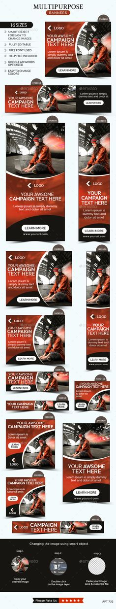 Multipurpose Banners Template #webbanners #design Download…