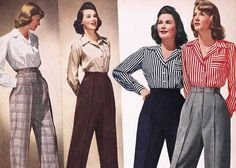 Find images and videos about fashion, vintage and retro on We Heart It - the app to get lost in what you love. 1950s Fashion Pants, 1940s Fashion Women, 1940s Fashion Dresses, 1940s Outfits, Retro Fashion, Vintage Fashion, 1940's Fashion, Tomboy Outfits, Girl Outfits