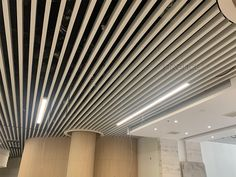 aluminum baffle ceiling Baffle Ceiling, Metal Ceiling, Ceiling Height, Fire Sprinkler, Construction Drawings, Ceiling Decor, Big Project, Building Materials, Colorful Pictures