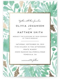 Floral tweed in blue invitations by doc milo invitation box watercolor delight floral botanical foil pressed wedding invitations in aqua by petra kern stopboris Image collections
