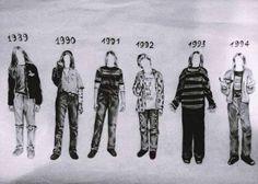PMRC Punk Metal Rap Coalition: Kurt Cobain style over the years Kurt Cobain Style, Kurt Cobain Photos, Nirvana Kurt Cobain, Nirvana Art, Arte Punk, Donald Cobain, Rock Poster, Smells Like Teen Spirit, We Will Rock You