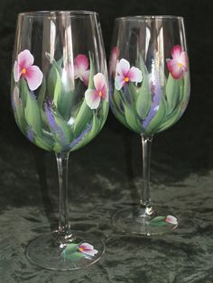 Set of 2 Hand Painted Wine Glasses Wild by SilkEleganceFlorals
