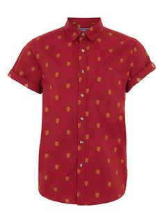 BURGUNDY BEAR PRINT SHORT SLEEVE SHIRT