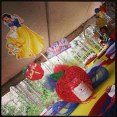 Snow White Center pieces and candle  -we created those.