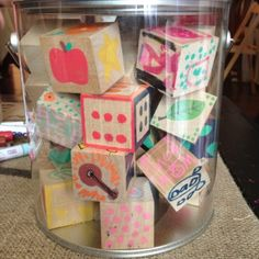 Have Baby Shower guests decorate wooden blocks with paint pens. 1 1/2 inch wooden blocks can be purchased at Hobby Lobby. # Pin++ for Pinterest #