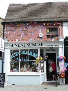 A unique seaside store at 62 Harbour street, Whitstable, Kent, UK(southeast England) Loved going to the seaside shops and getting a cone. Boutiques, British Seaside, British Isles, Cafe Shop, Shop Fronts, Lovely Shop, Shop Around, Store Design, Facade