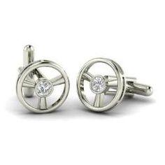 Men's - Steer - SI Diamond Cufflinks in 14k White Gold (0.94 ct.tw.)