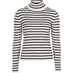 TOPSHOP Liquorice Stripe Roll Neck Jumper ($43) ❤ liked on Polyvore featuring tops, sweaters, ivory, white jumper, ivory sweater, white sweater, stripe top y jumpers sweaters