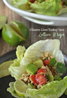 Looks tasty and full of flavor:) graw approved! We might ass some celtic sea salt pumpkin seeds for added crunch and health! Cilantro Lime Turkey Taco Lettuce Wraps via Mountain Mama Cooks Advocare Recipes, Paleo Recipes, Mexican Food Recipes, Cooking Recipes, Wrap Recipes, Taco Lettuce Wraps, Healthy Snacks, Healthy Eating, Turkey Tacos