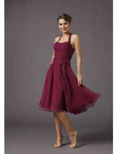 Need this in a lighter blue. Beautiful A-line Halter Knee-length Chiffon Evening Bridesmaids Dress