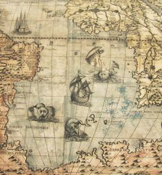 The World in 1565 map by Paolo Forlani has nice seamonsters on it!