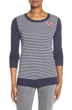 Halogen® Embroidered Crewneck Sweater (Regular & Petite) available at #Nordstrom