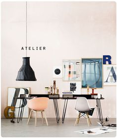 Love this space (would have to skip the pink, since I'm sharing this office with at least one boy, but white would do)