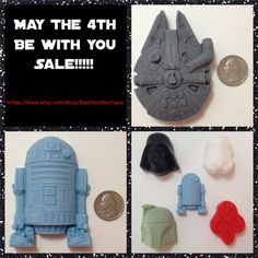 My May The 4th Sale Starts Now ✨ Lowest Prices To Date On My Star Wars Soaps ✨ Also There Is Still A 10% Coupon Code, Use Monster At Checkout ✨ Please Help Me Spread The Word   Http://www.etsy.com/shop/BastiansBoutique  #MayThe4th #StarWars #Etsy #HandcraftedSoap #R2D2 #MilleniumFalcon #BobaFett #Stormtrooper #DarthVadar #ScentedSoap #SupportIndie