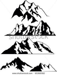 set of vector silhouettes of the mountains by Tetiana Dziubanovska, via Shutterstock