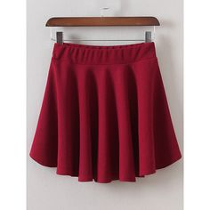 Elastic Waist A-Line Burgundy Skirt ($21) ❤ liked on Polyvore featuring skirts, red skirt, a line skirt, patterned skirts, red print skirt and burgundy skirt